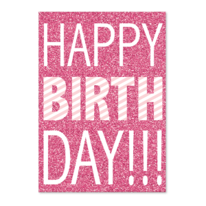 Pink Glitter Birthday greeting card Product