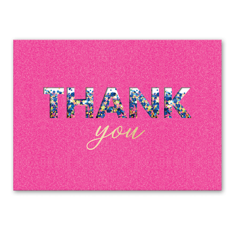 pink shaker thank you greeting card