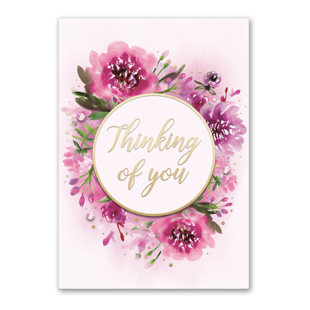 pink flowers thinking of you greeting card