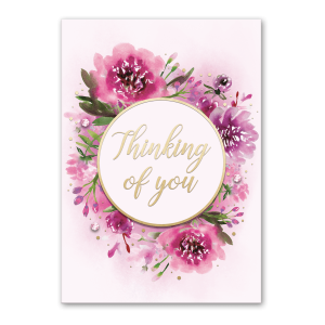 Pink Flowers Thinking of You Greeting Card Product